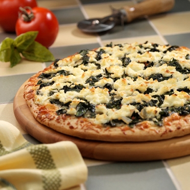 Three-Cheese and Spinach Pizza