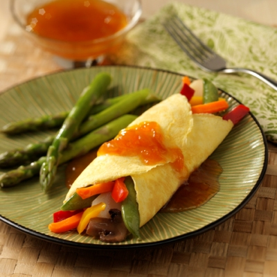 Vegetable Stuffed Crepes with Sweet-Sour Sauce