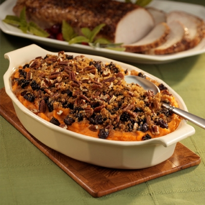 Mashed Sweet Potatoes with Pecan Crumble