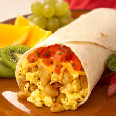 Breakfast Burritos with Tomato-Basil Topping Recipe