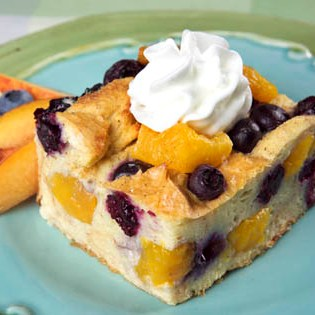 Peach-Blueberry Bread Pudding Recipe
