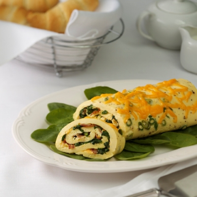 Spinach-Cheddar Omelet Roll Recipe