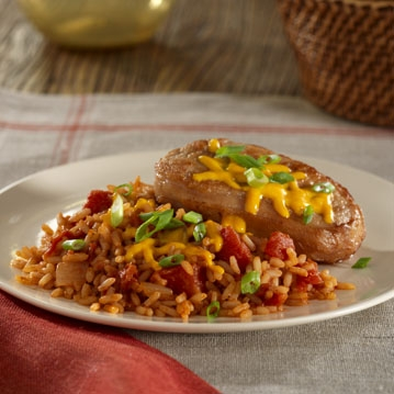Chili Pork Chops with Rice and Cheese Recipe