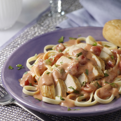 Chicken and Pasta with Tomato Alfredo Sauce