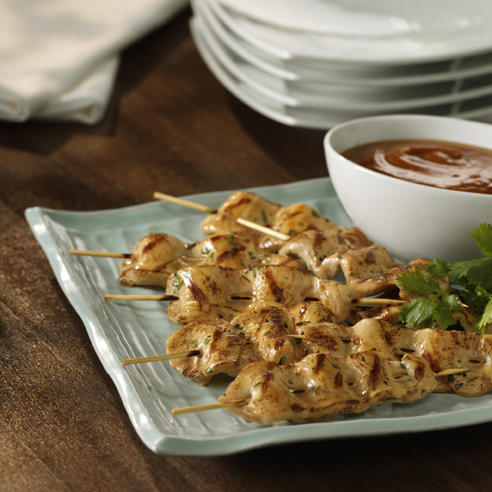 Coconut Chicken Kabobs with Spicy Peanut Dipping Sauce - Recipe ...
