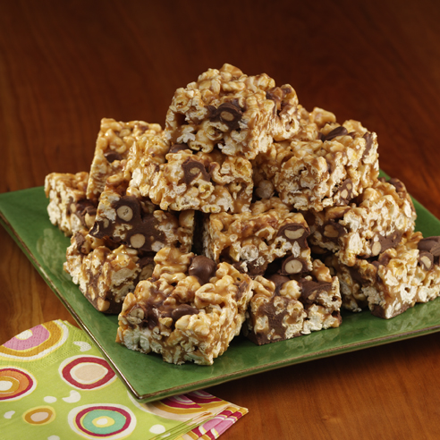 Crispy Peanut Butter Chocolate Popcorn Squares Recipe