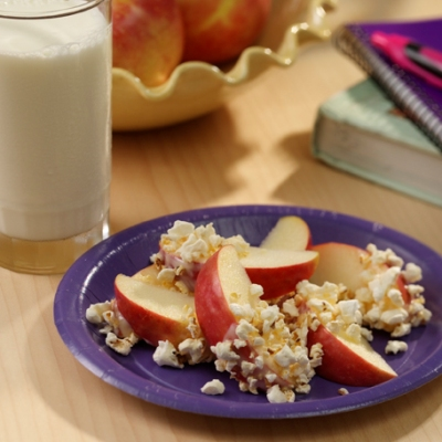 Fresh Apple Snack with Popcorn and Yogurt Recipe