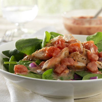 Turkey with Tomato and Spinach Salad