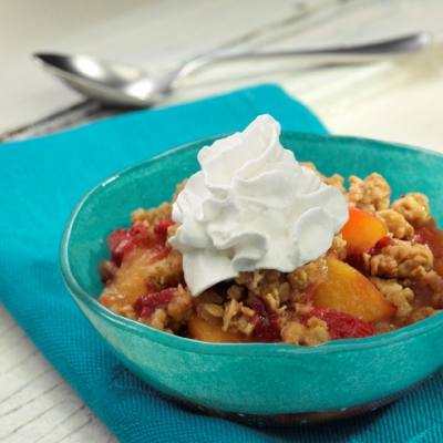 Peach Melba Granola Crisp
