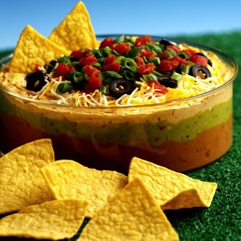 fiesta 7 layer dip colorful layers of refried beans guacamole sour ...