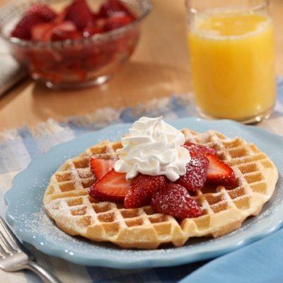 Waffles with Fresh Strawberries Recipe