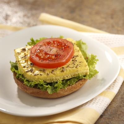 Open-Faced Egg and Tomato Bagel Stacks Recipe