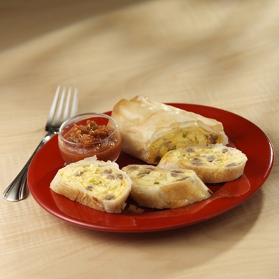 Egg, Sausage and Phyllo Roll-Ups