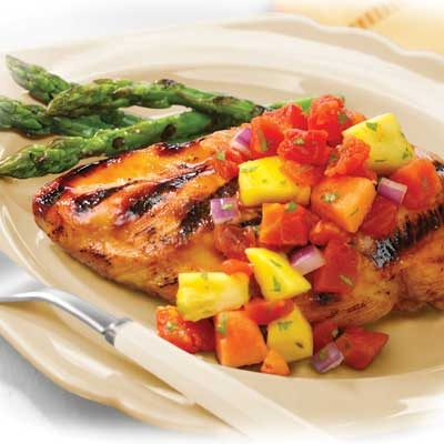Grilled Marinated Chicken with Tomato-Fruit Salsa