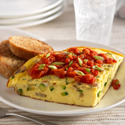 Zucchini Frittata with Tomato-Onion Sauce
