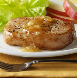 Pork Chops with Cider-Onion Sauce for Two  