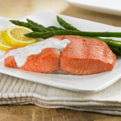 Baked Salmon with Dill Cream for Two