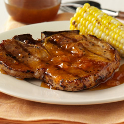 Grilled Pork Chops with Apricot-Mustard Glaze