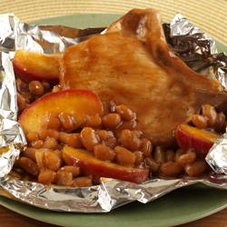 Pork Chop-Apple-Bean Packets for Two