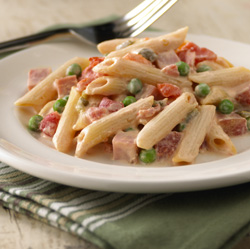 Creamy Ham and Penne Pasta for Two