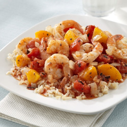 Shrimp with Peach 'Salsa' for Two