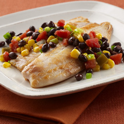 Tilapia with Black Beans and Corn for Two