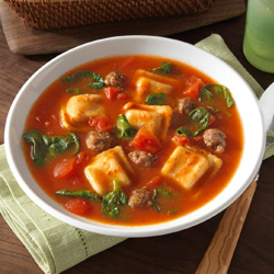 quick and easy ravioli soup recipe flavored with Italian sausage ...