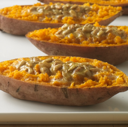 &#039;Baked&#039; Sweet Potatoes with Curried Spread