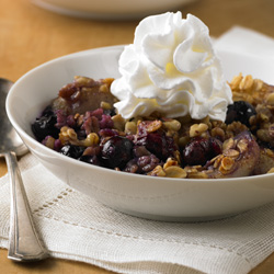 Quick Pear and Blueberry Cobbler