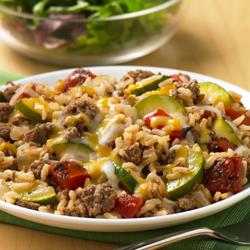 Sartén de Zucchini, Carne y Arroz