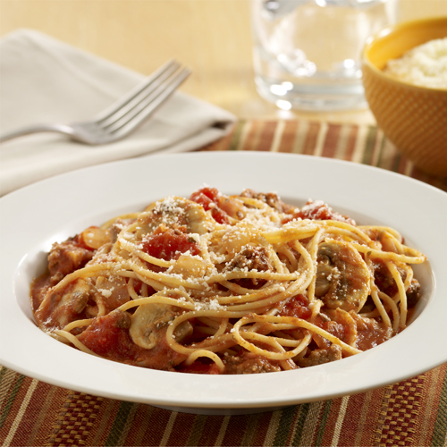 Spaghetti with Meat Sauce and Mushrooms Recipe
