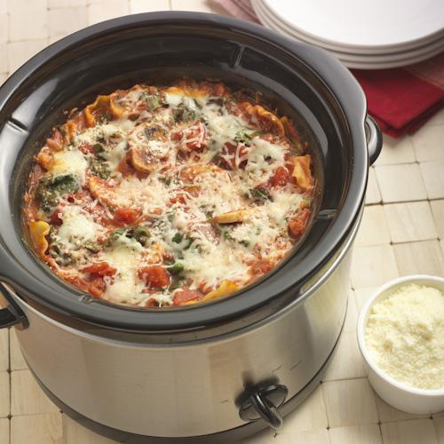 Slow Cooker Mushroom Spinach Lasagna Recipe