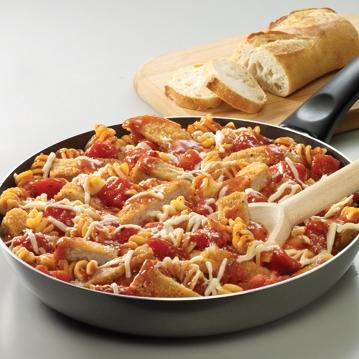 Pasta con Pollo a la Parmesana a la Sartén
