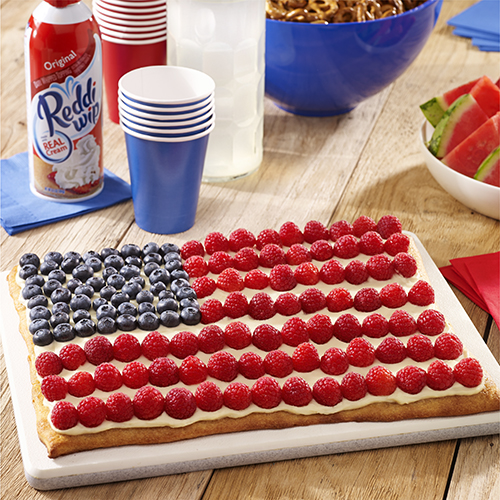 Red White and Blue Dessert Fruit Pizza