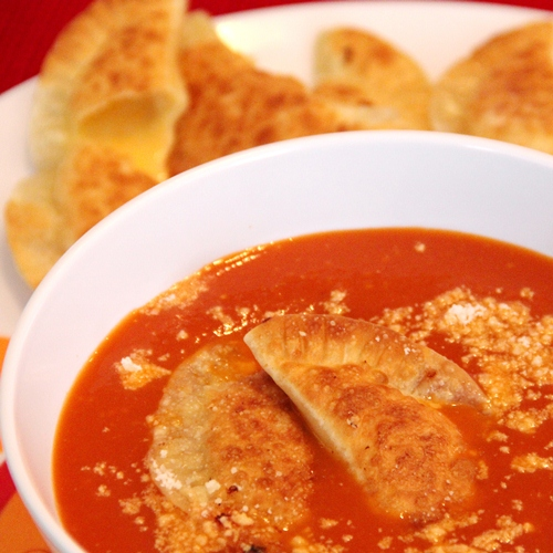 Spicy Chipotle Tomato Soup with Grilled Cheese Empanada Dumplings ...