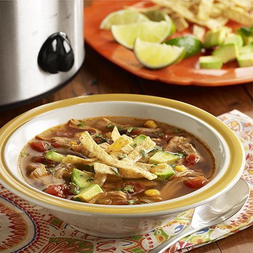Sopa de Tortilla con Pollo en Olla de Cocción Lenta