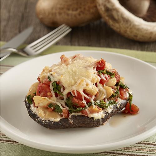 Kale, Tomato and Cheese Stuffed Mushrooms
