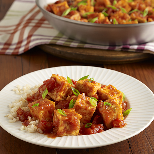 Easy Fried Tofu with Spicy Tomato Sauce