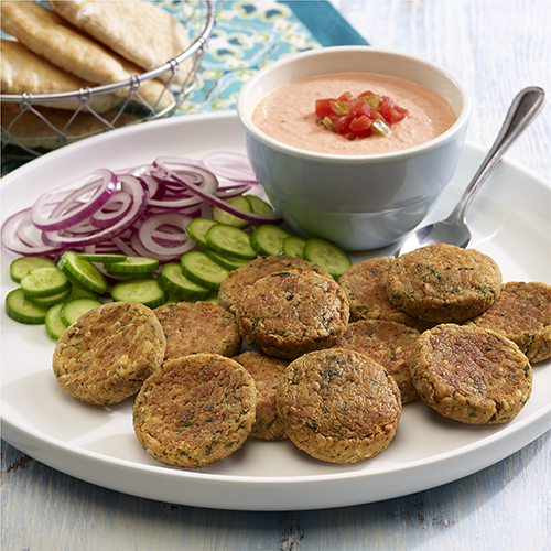 Baked Falafel with Spicy Tomato-Yogurt Sauce