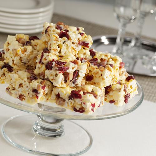 White Chocolate Cranberry Popcorn Bars