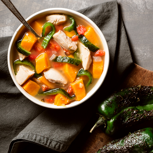 Roasted Poblano and Sweet Potato Chicken Soup - Recipe | ReadySetEat